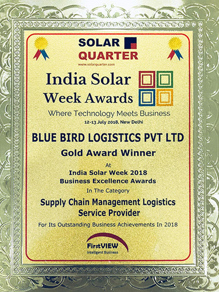 Blue Bird Logistics wins the Gold Award for Supply Chain Management Logistics Service Provider 2018